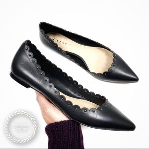 COACH Scalloped Studded Pointed Toe Flats